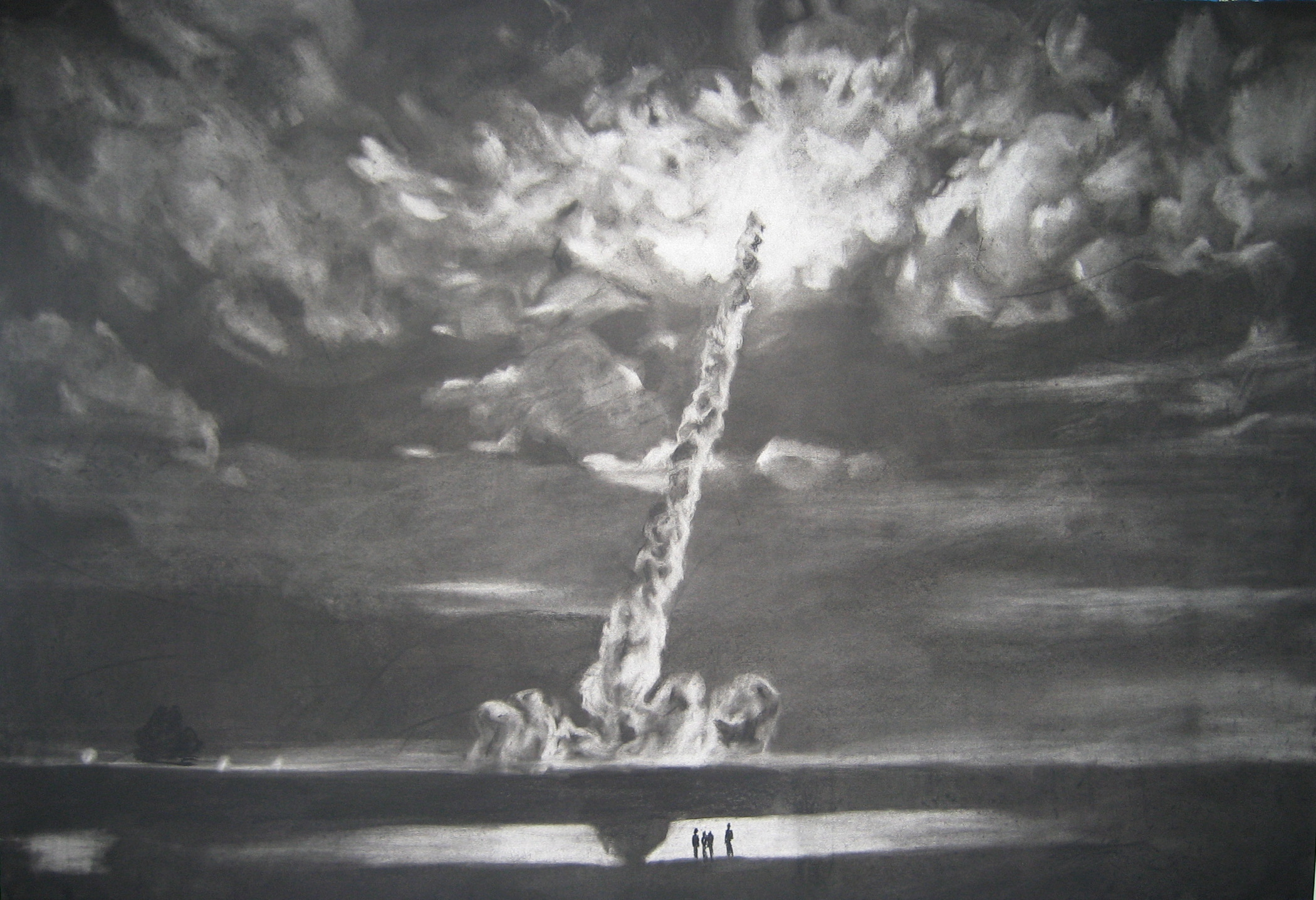Night Launch  2007 Charcoal on paper, 44 x 30 inches