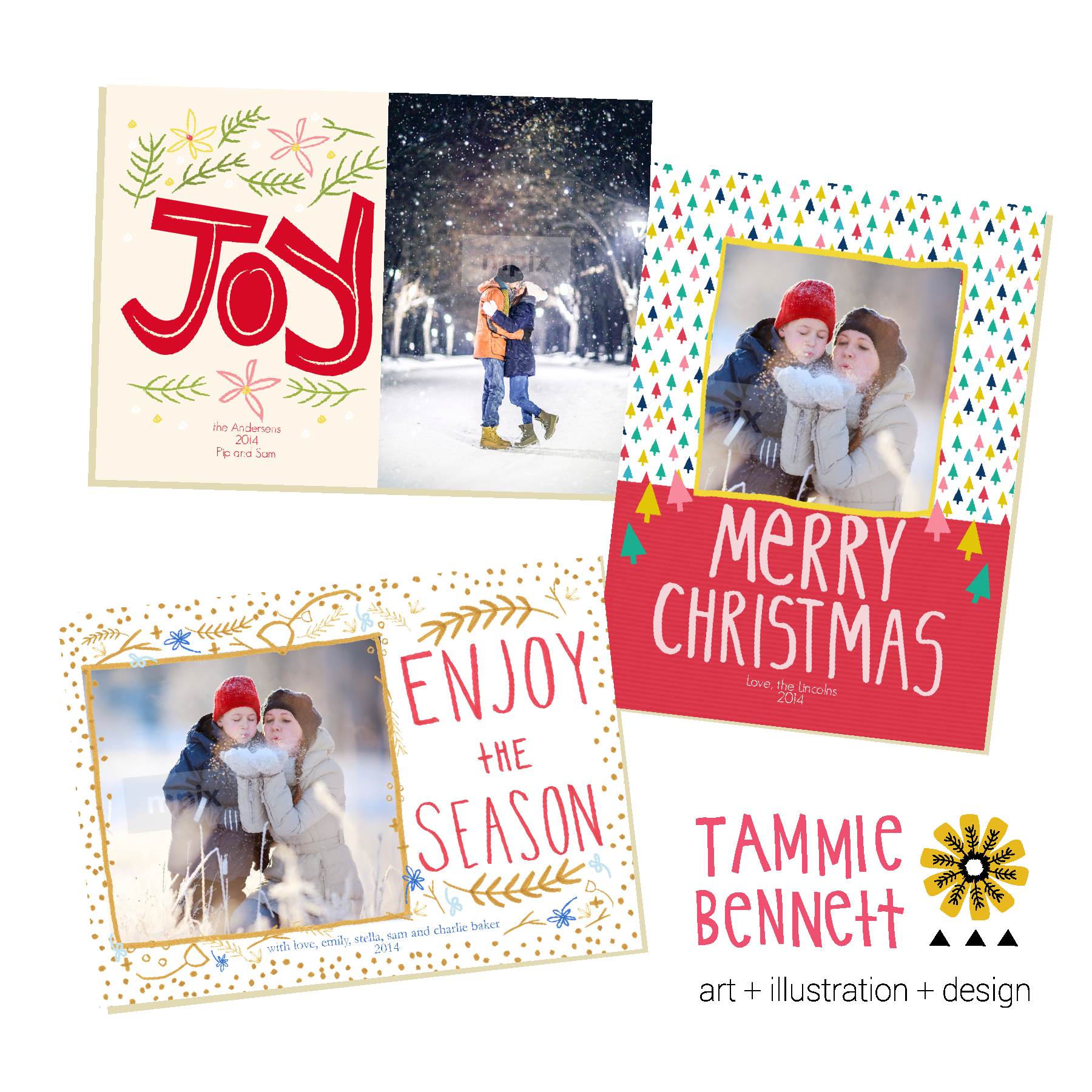 tam bennett holiday photo card templates on mpix.com