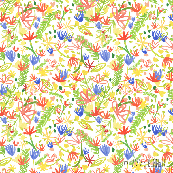 tammie bennett's watercolor flower garden pattern