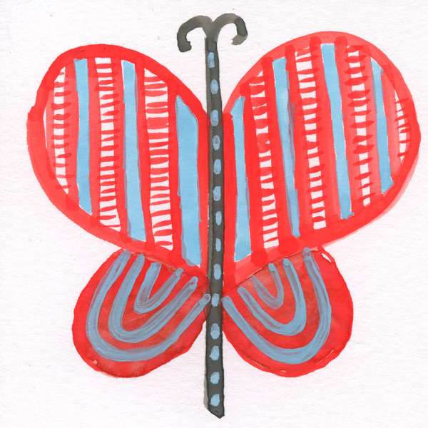 tammie bennett's red lace wing butterfly for #DOZENdozen, her monthly art project