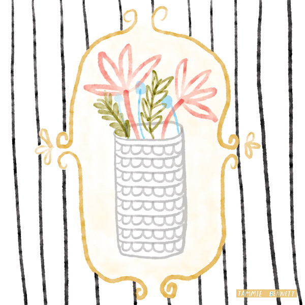 tammie bennett's vase and striped wallpaper