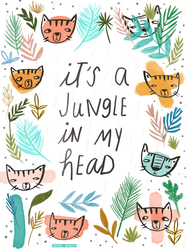 tammie bennett jungle cat art print