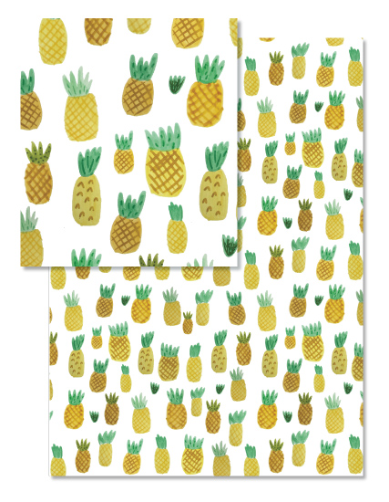 pineapple party repeat pattern wrapping paper design © tammie bennett