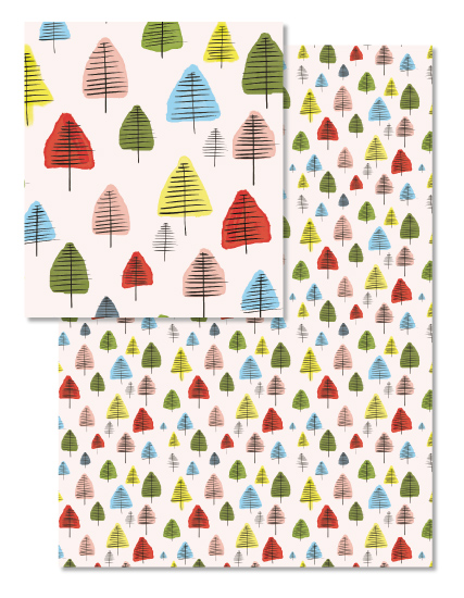 watercolor brush tree pattern design for wrapping paper © tammie bennett