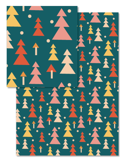 winter tree forest pattern for wrapping paper © tammie bennett
