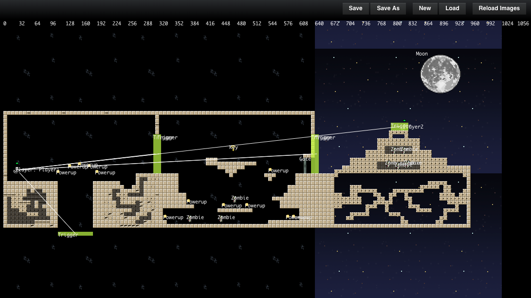 The entire level inside the level editor. The green rectangles trigger code when the player touches them.