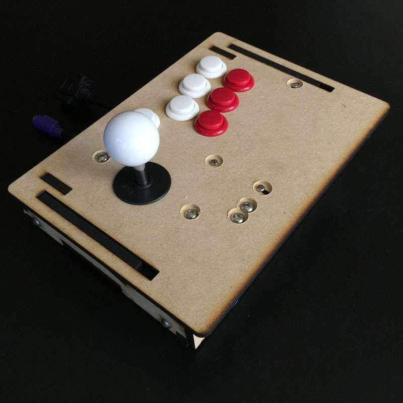 One of the many prototypes of this tiny frame. The buttons are 24mm. We can custom design one for you here:  GameThing Shop