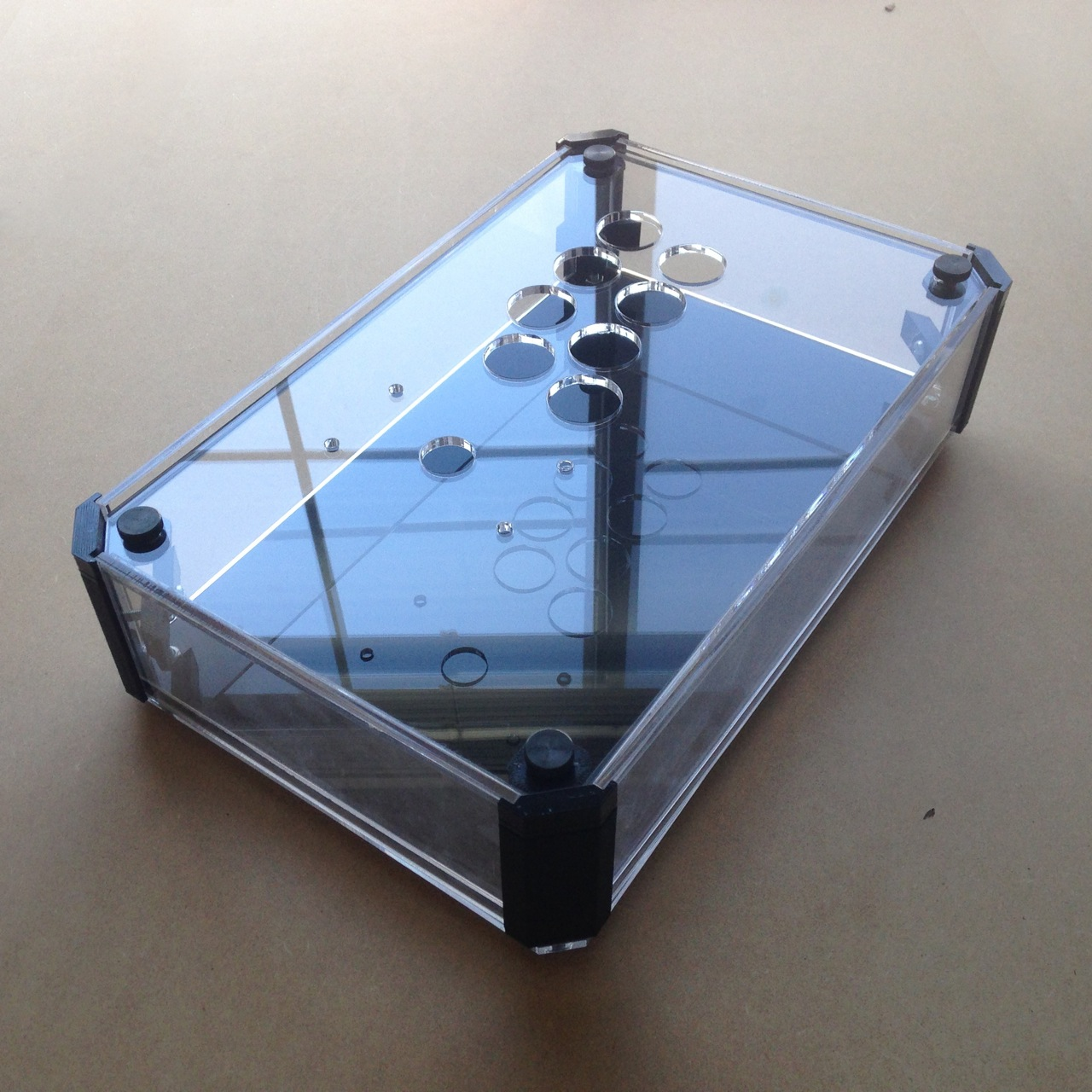 Clear acrylic frame with 3D printed ABS corners