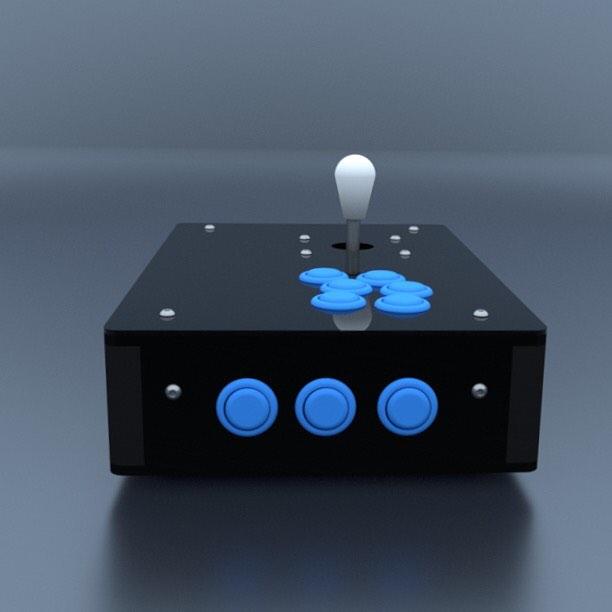 CAD renders of the arcade project box 👉www.cuddleburrito.com #cad #render #arcade #arcadegames #joystick #button #videogames #maker #rpi #raspberrypi #fightstick #classic #classicarcade #classics #retropie