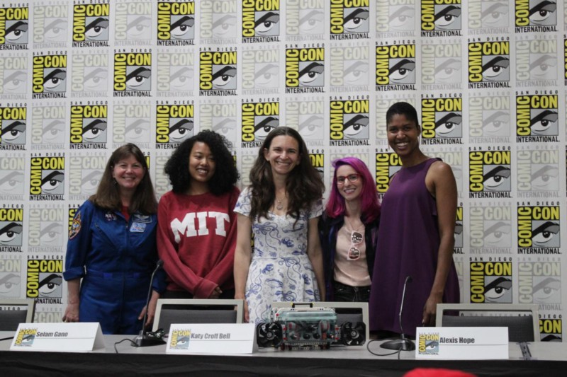 The Media Lab panel at San Diego Comic-Con 2018: Cady Coleman, Selam Gano, Katy Croff Bell, Alexis Hope, and Danielle Wood.