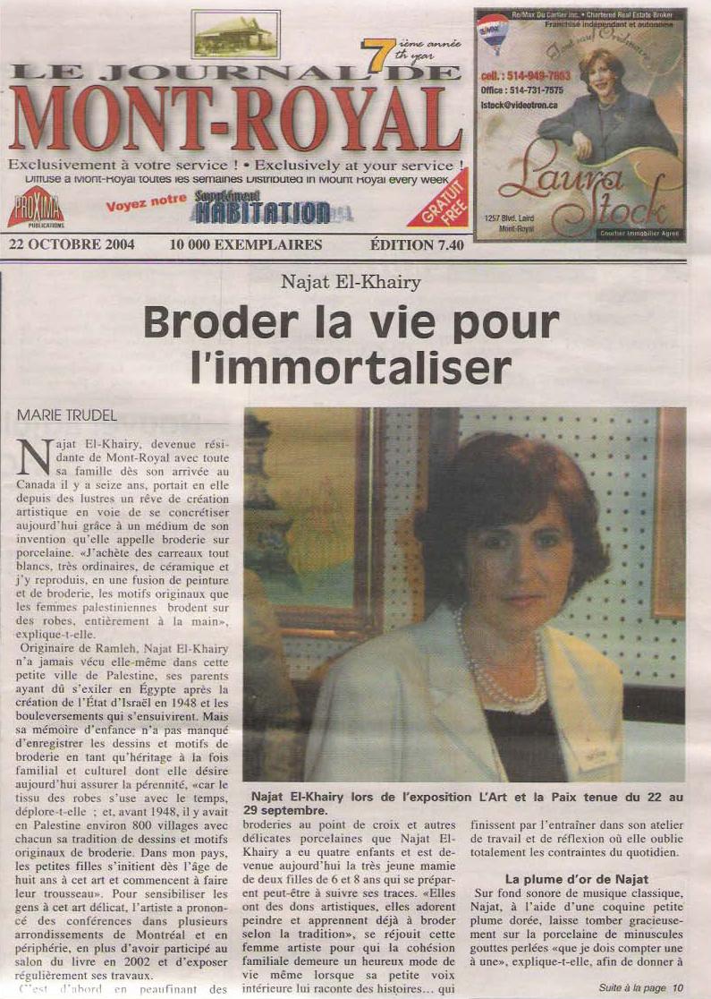 Le Journal de Mont-Royal -22 oct 2004