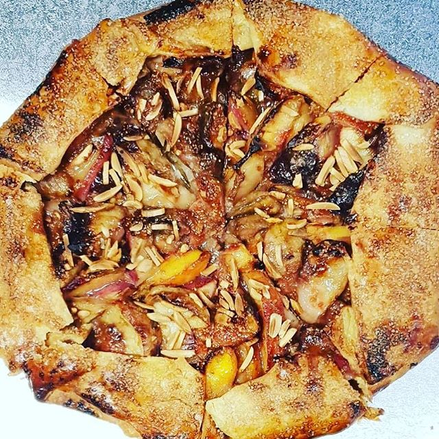 'Tis the season for FIGS. Yum. Fig, nectarine and almond galette. Thanks Clarissa. #homemade #Bronte #tart #seasonal #figs