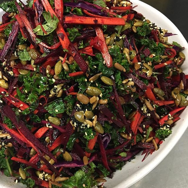 Miserable day. Beautiful salad. Kale, red cabbage, carrot, beetroot, sesame, mint and coriander. Even just looking at it is good for you. #healthyfood #vegan #brontebeach #salads #sydneyeats