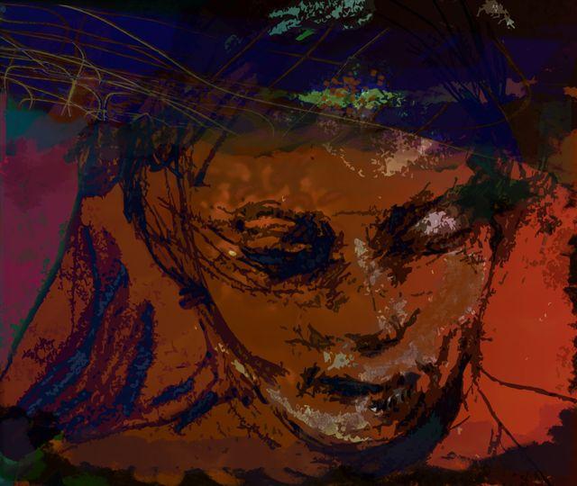 Elizabeth Pelley , Girl On Brown Paper (digital print )