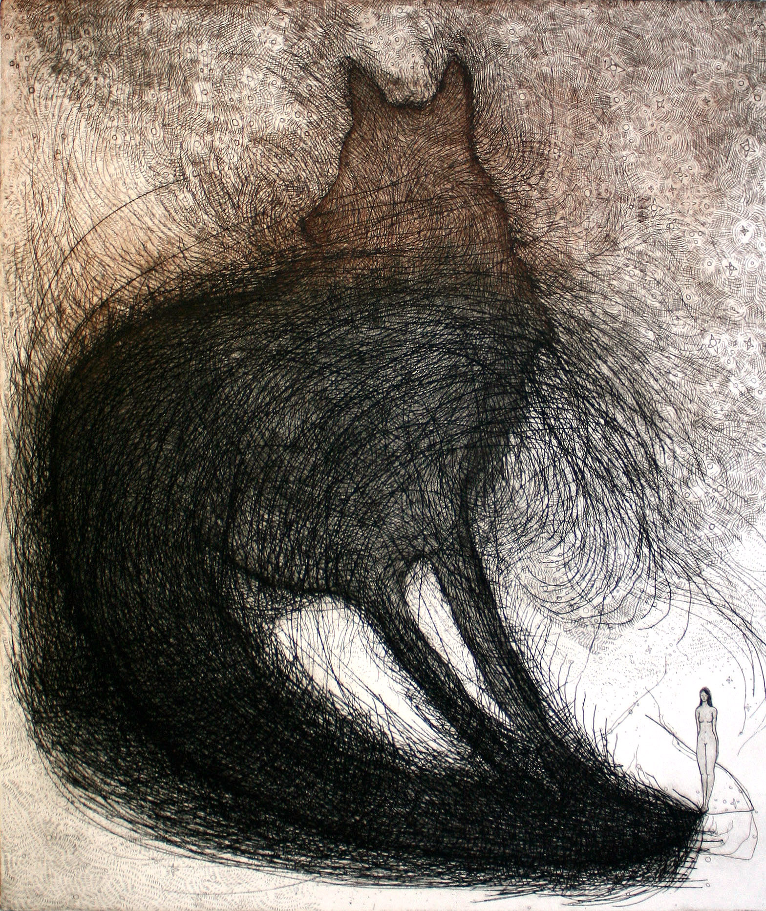 Brooke Vertin ,  Nightshadow  (etching on BFK Rives paper)