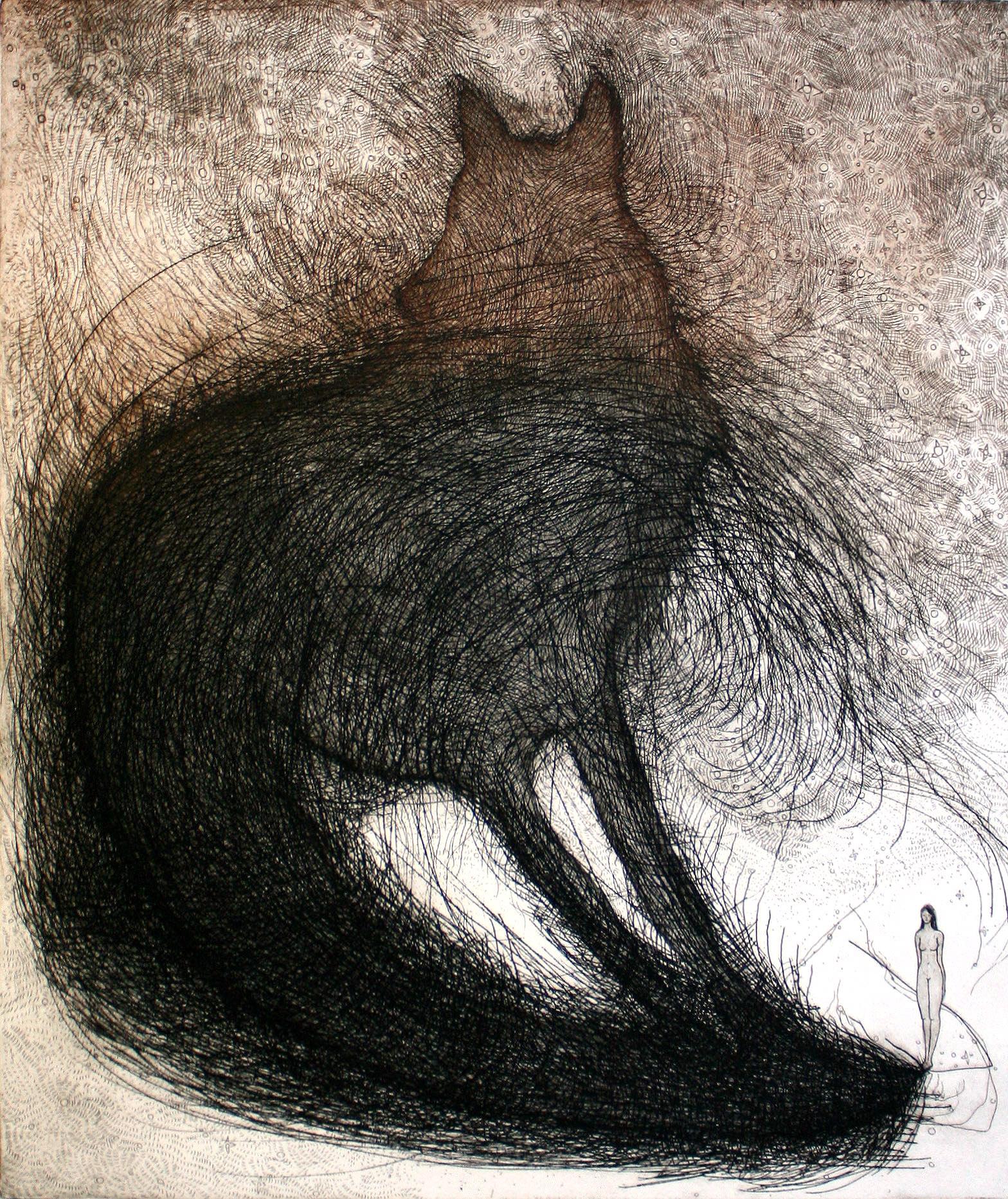 Brooke Vertin ,  Nightshadow (etching on BFK Rives paper)