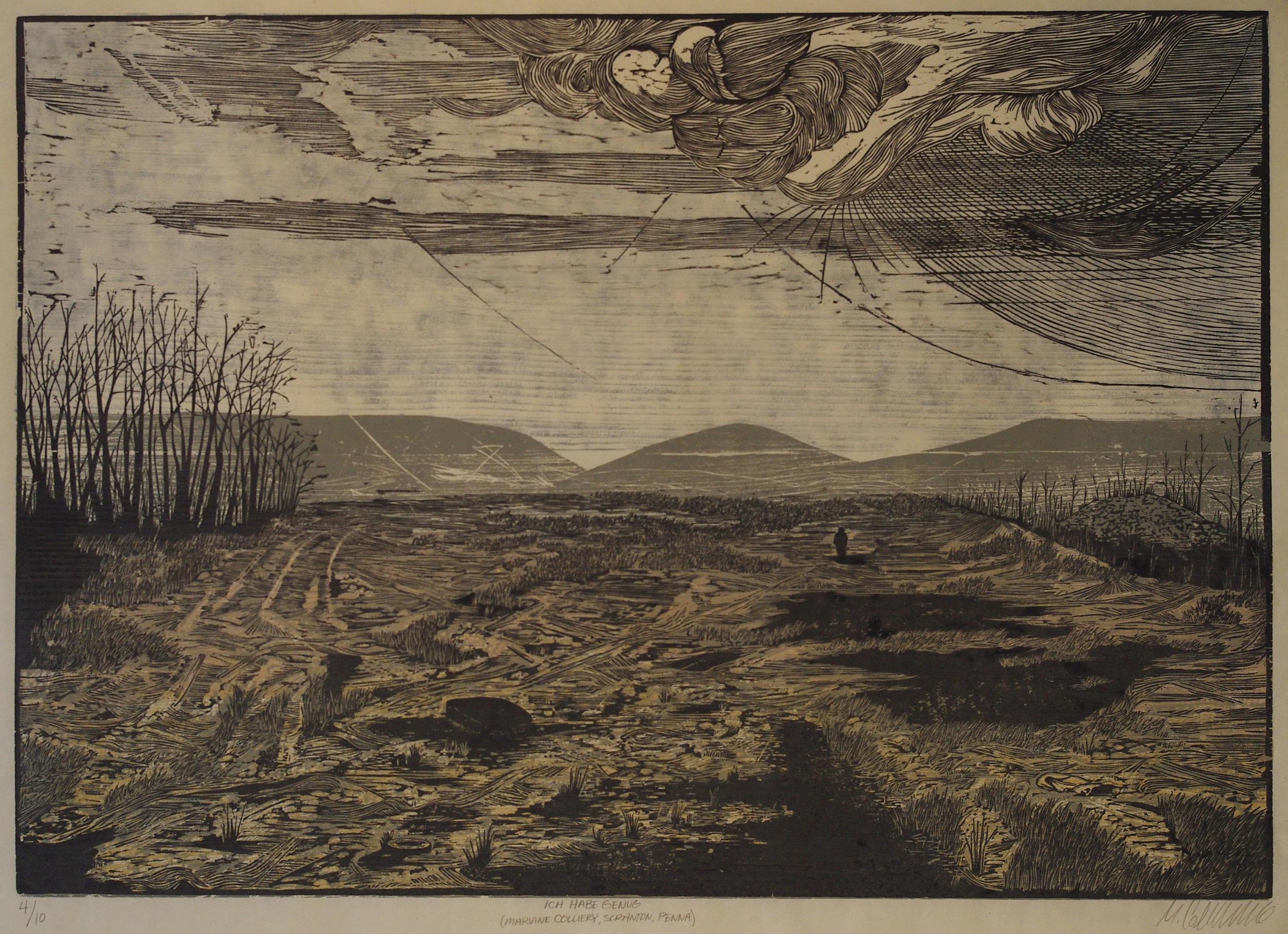 Matthew Colaizzo ,  Ich Habe Genug (Marvine Collary, Scranton, Pennsylvania)   (woodblock print on Okawara)
