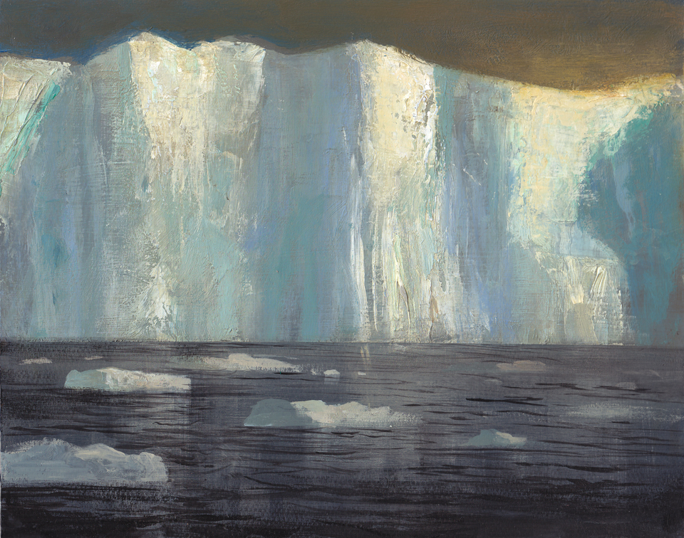 Jeremy Miranda  ,   Ice Wall Gold   (oil on canvas)