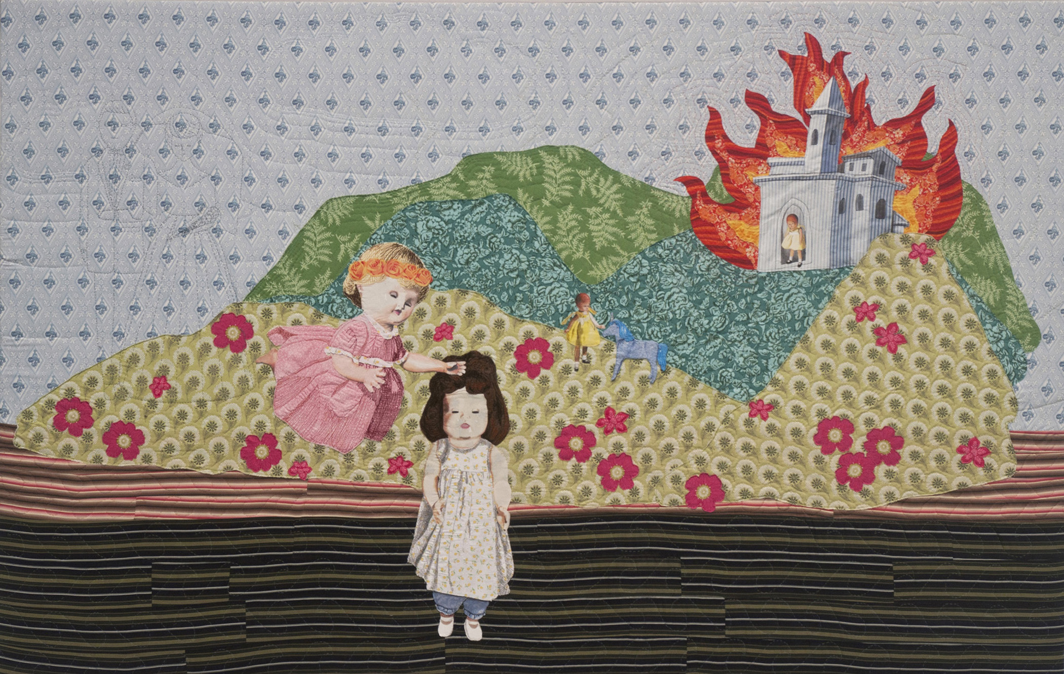 Julie Farstad  ,   The World Afire   (fabric, thread, embroidery floss)