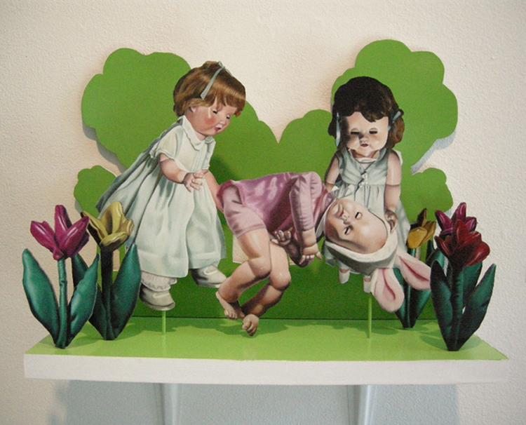 Julie Farstad , Tending the Bunny , 2009(oil on clayboard)
