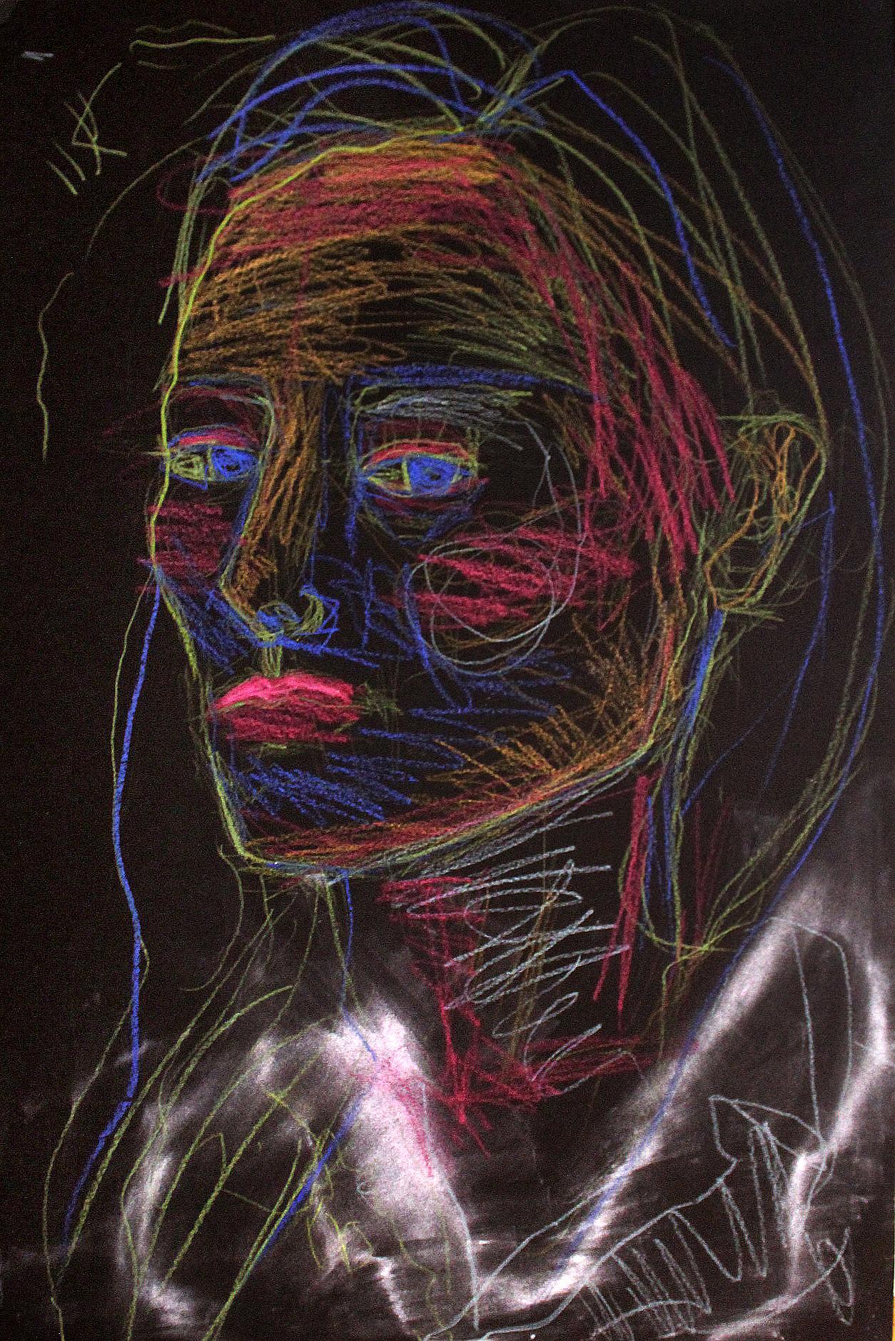 Brooke Vertin , Electric Contour, Self-Portrait (pastel on black paper)