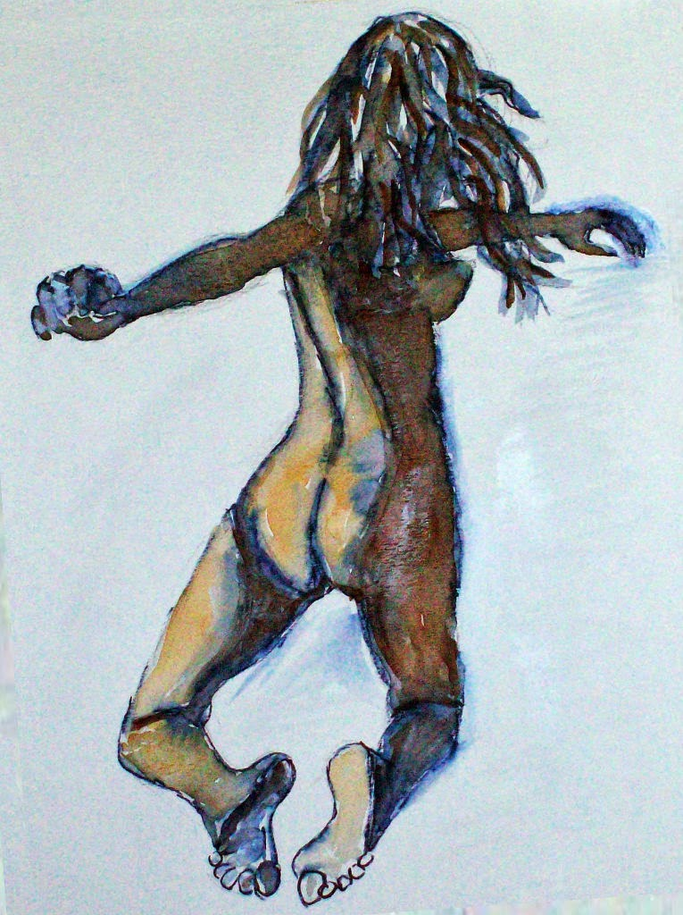 Allen Forrest  ,  Femme Noir, #14   (ink and watercolor on paper)