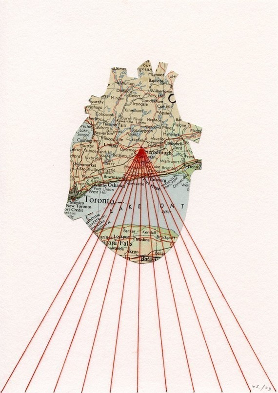 Shannon Rankin ,   One Heart   (map, thread, paper)