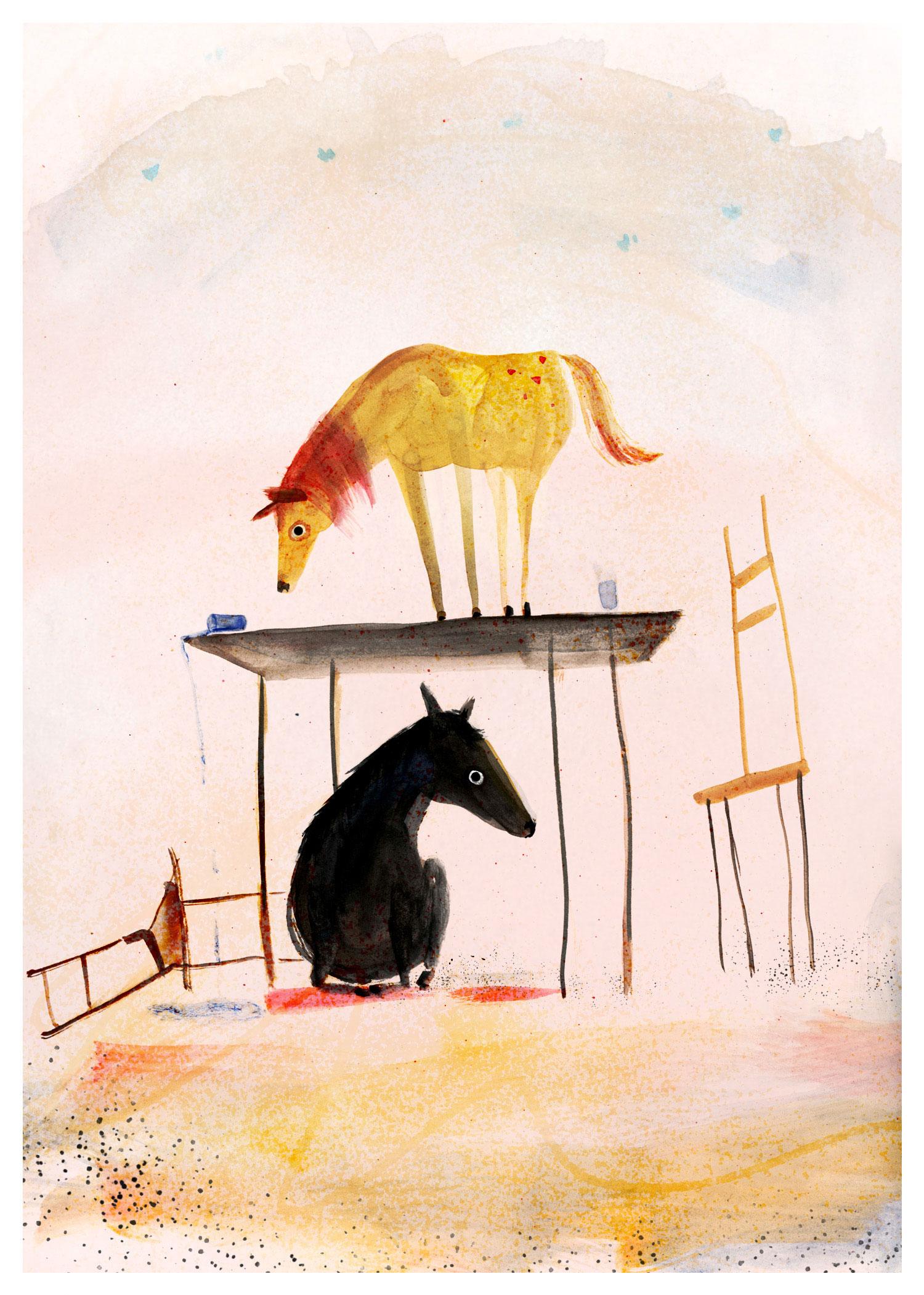 Sarah Jacoby , Indoor Horses  (watercolor, digital)