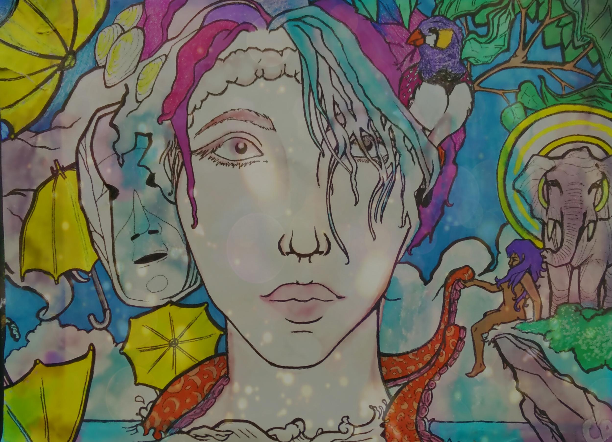 Camille Gladney Schmoutz , Upon Awakening  (mixed media)