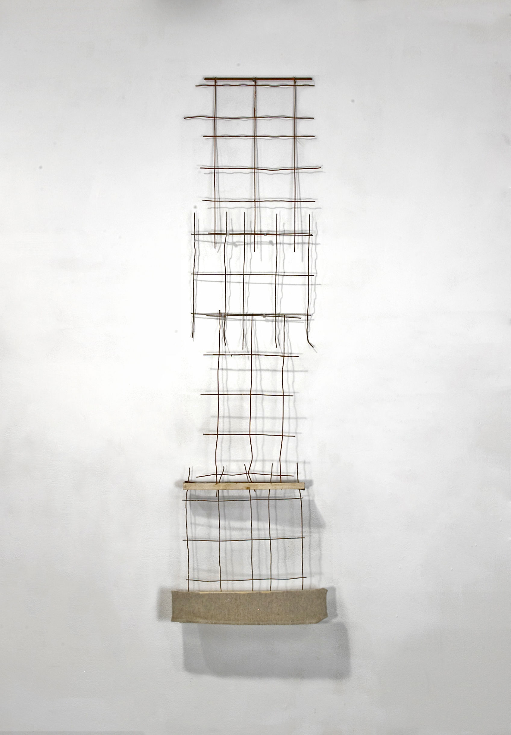Williamson Brasfield ,  Untitled (Spring Snare) , 2011 (bedspring, pine, felt)