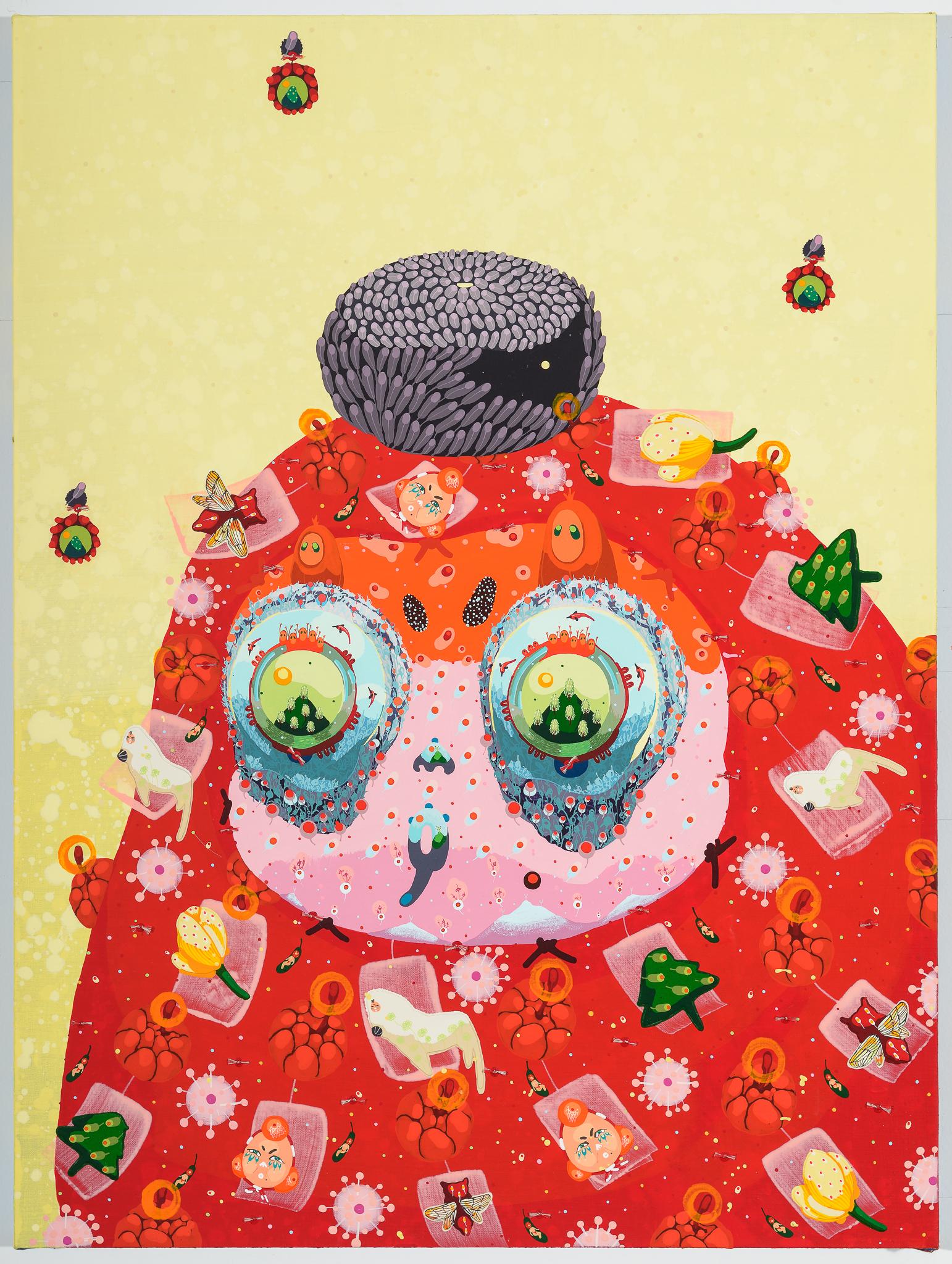 Mi Ju , Red Ballon 2015  (acrylic on linen, cut paper, thread)