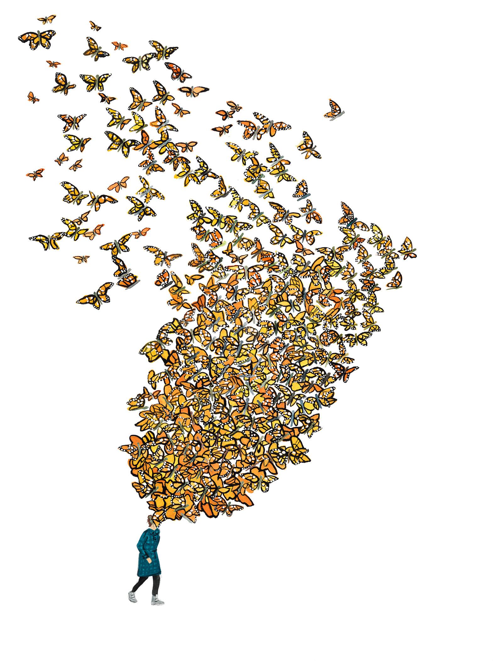 Carrie DeBacker,  Monarchs   (gouache on paper)