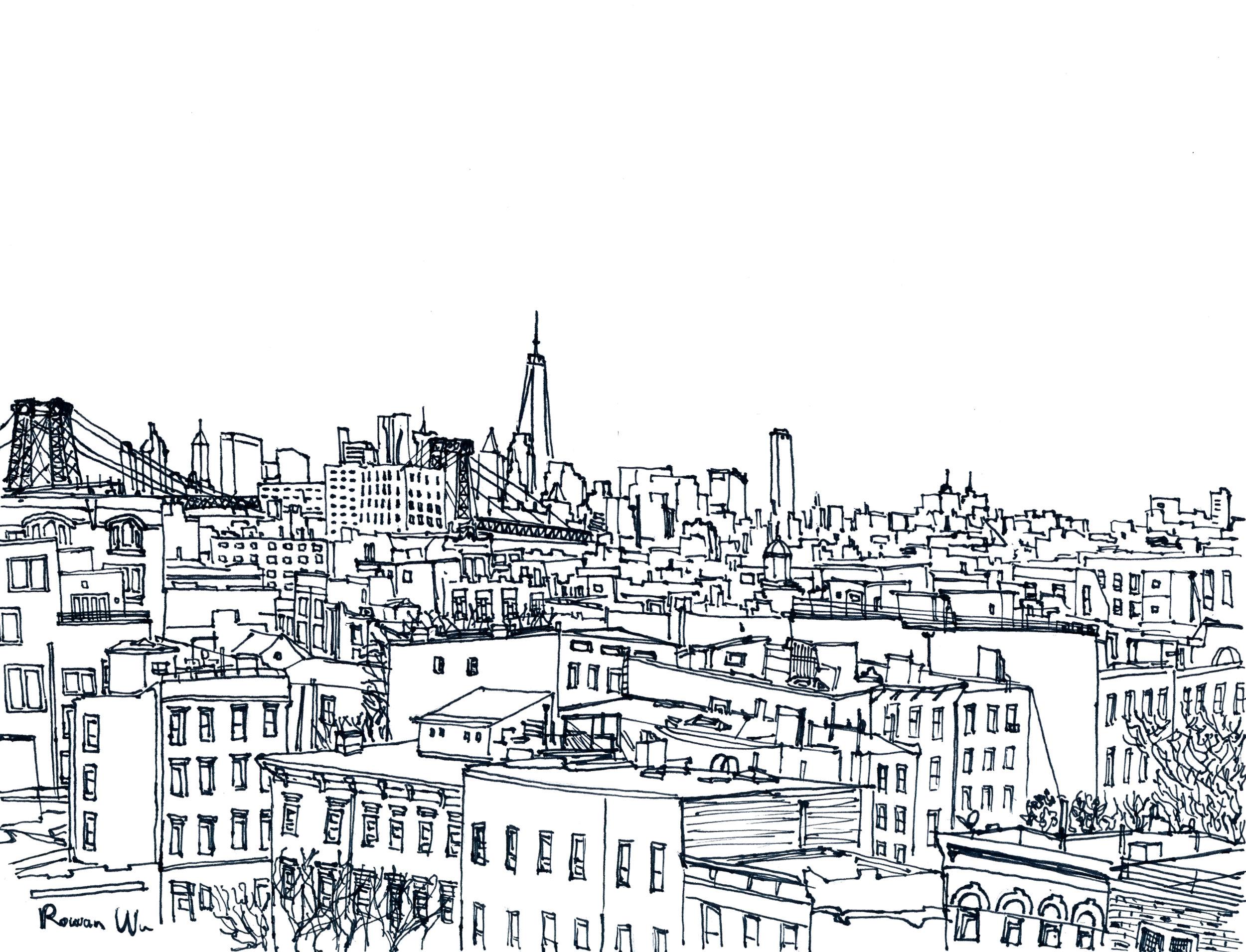 Rowan Wu , Brooklyn  (ink on paper)