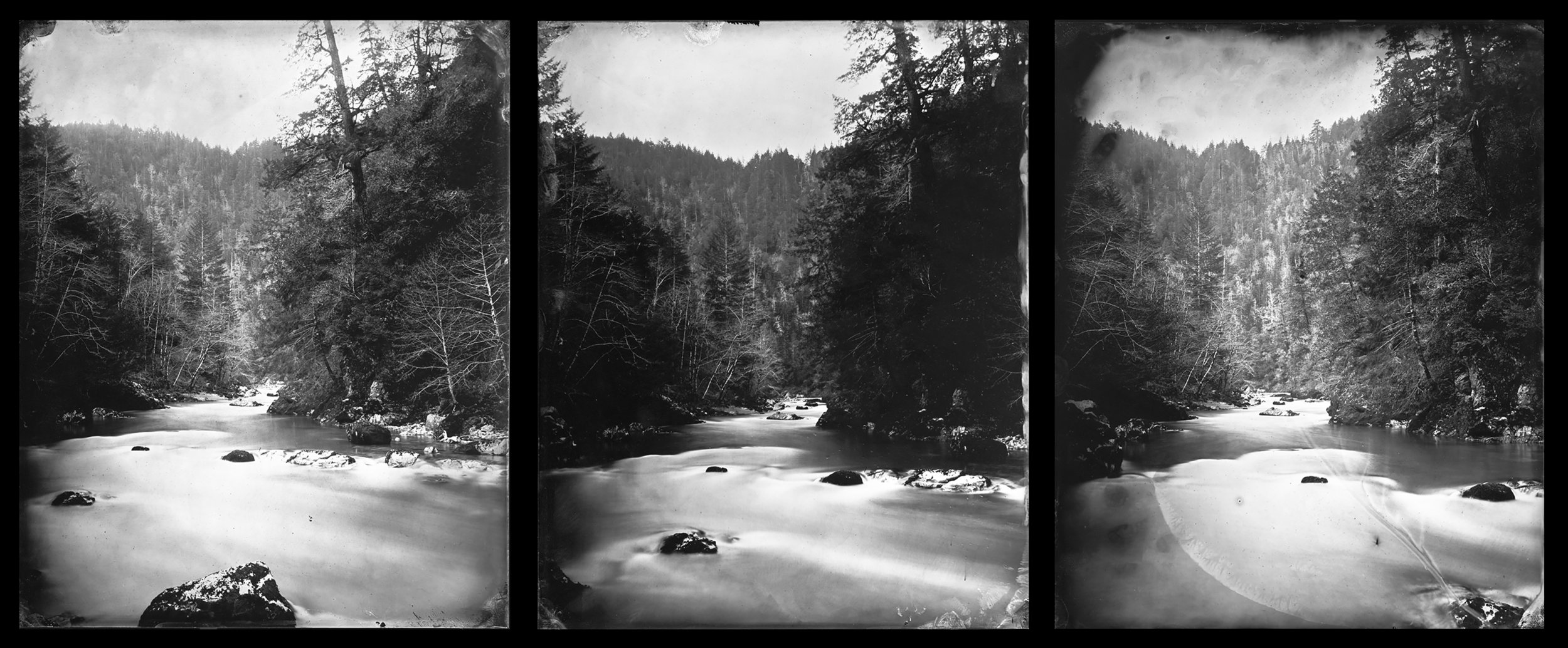 """Cole Caswell ,  Deserted American Dreaming, Ascending the Elk River  (3 8""""x10""""tintypes), Oregon, 2017"""