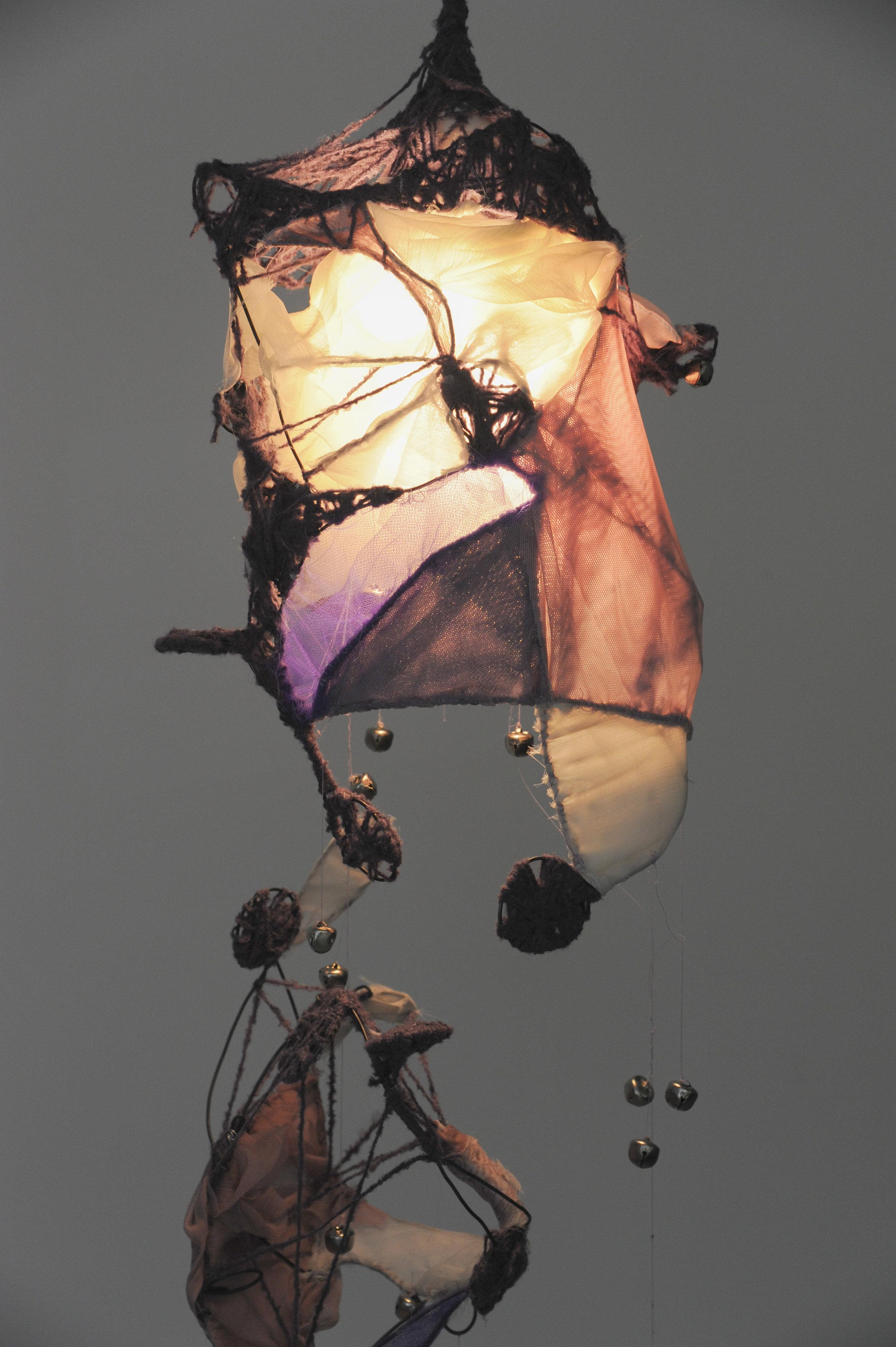 Iman Serag ,  Musical Lights , 2015  Elastic fabric, thread, jingle bells