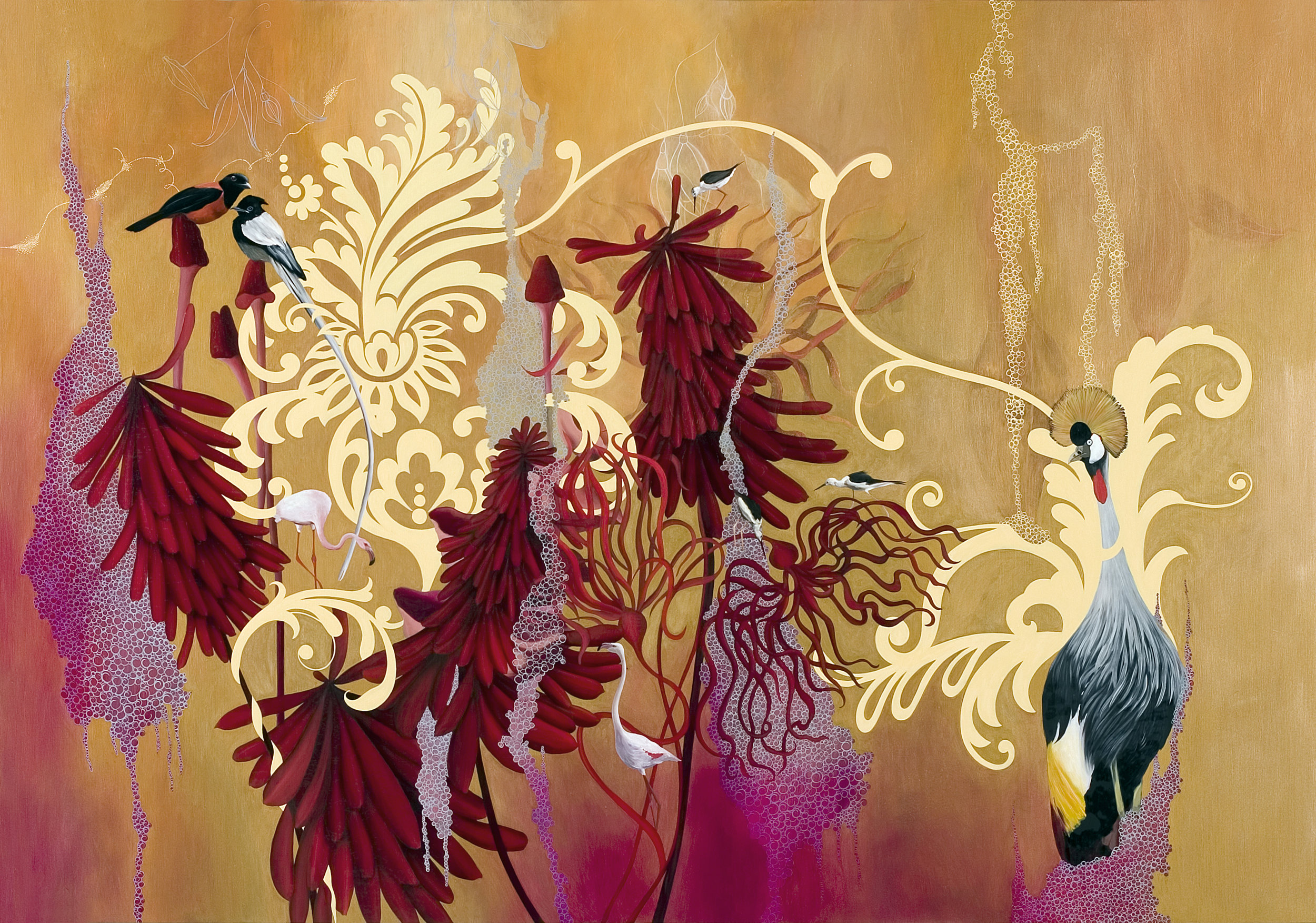 Resa Blatman ,   They Gather In Such Profusion , 2008 Oil on wood 46 x 66""