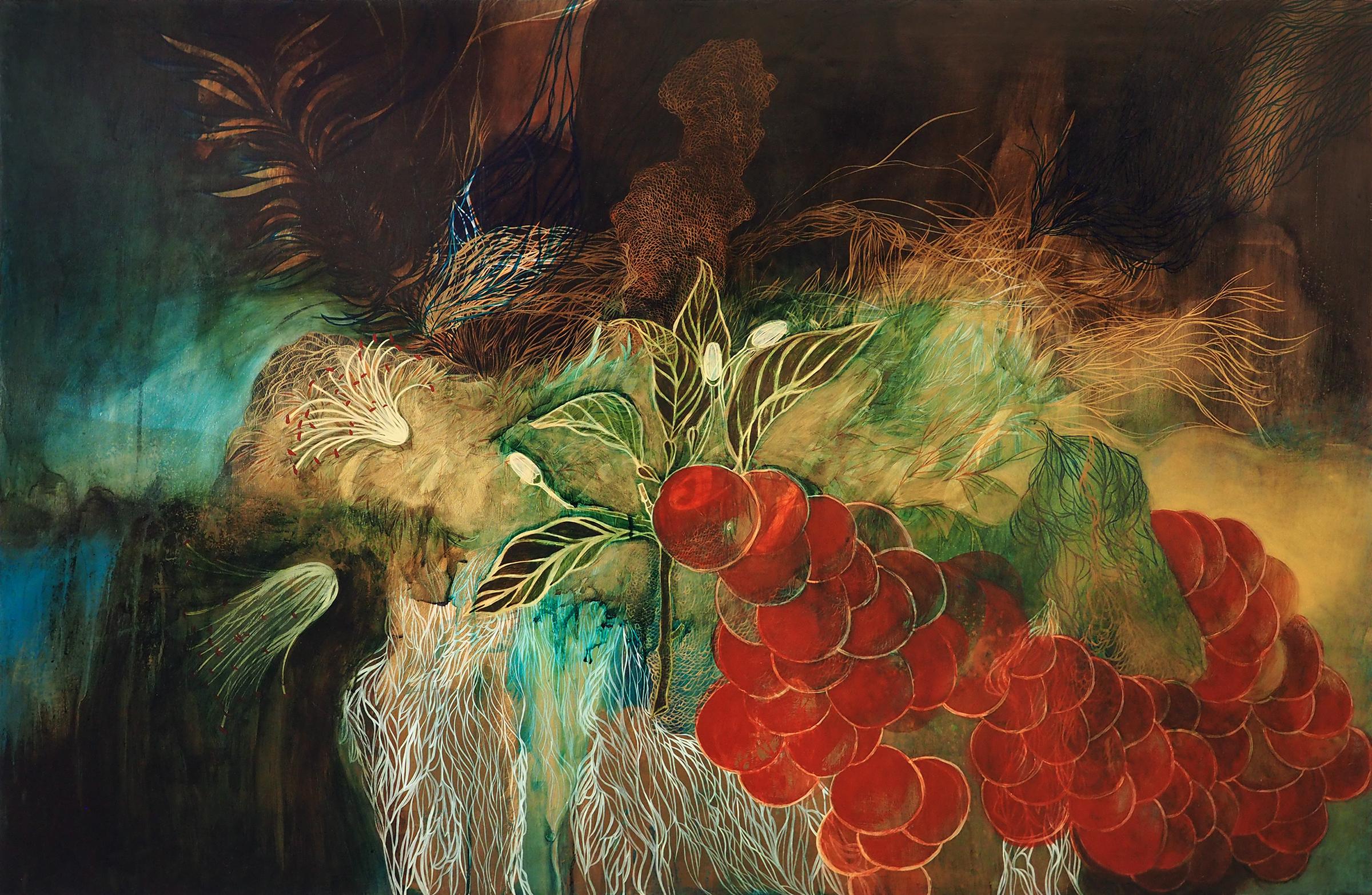 "Resa Blatman ,  Oranges , 2005  Ink, acrylic, and gold leaf on wood  46 x 66"""