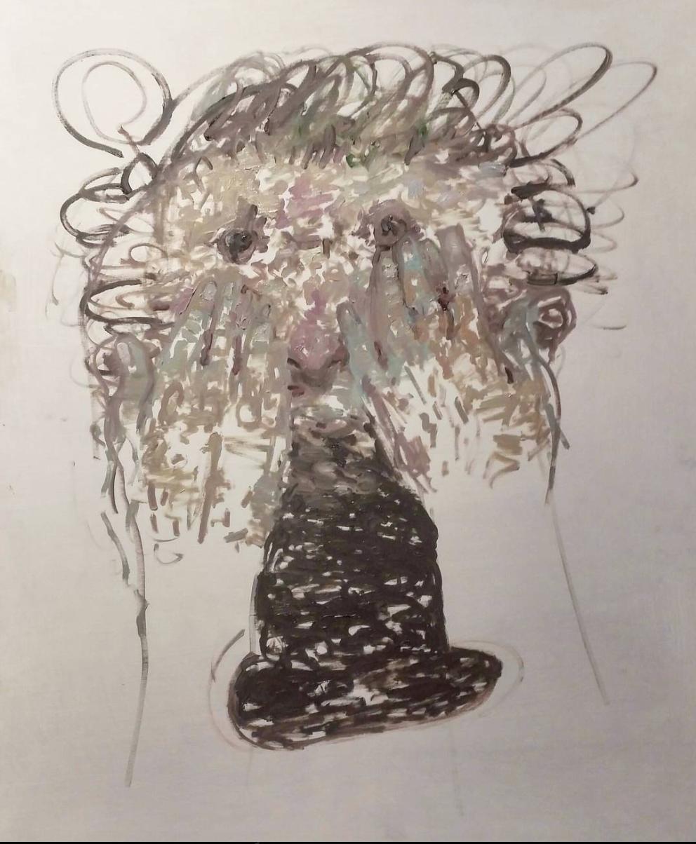 "Matthew Bergey ,  Crying ,2017 Oil on Gesso board 11 x 8"""