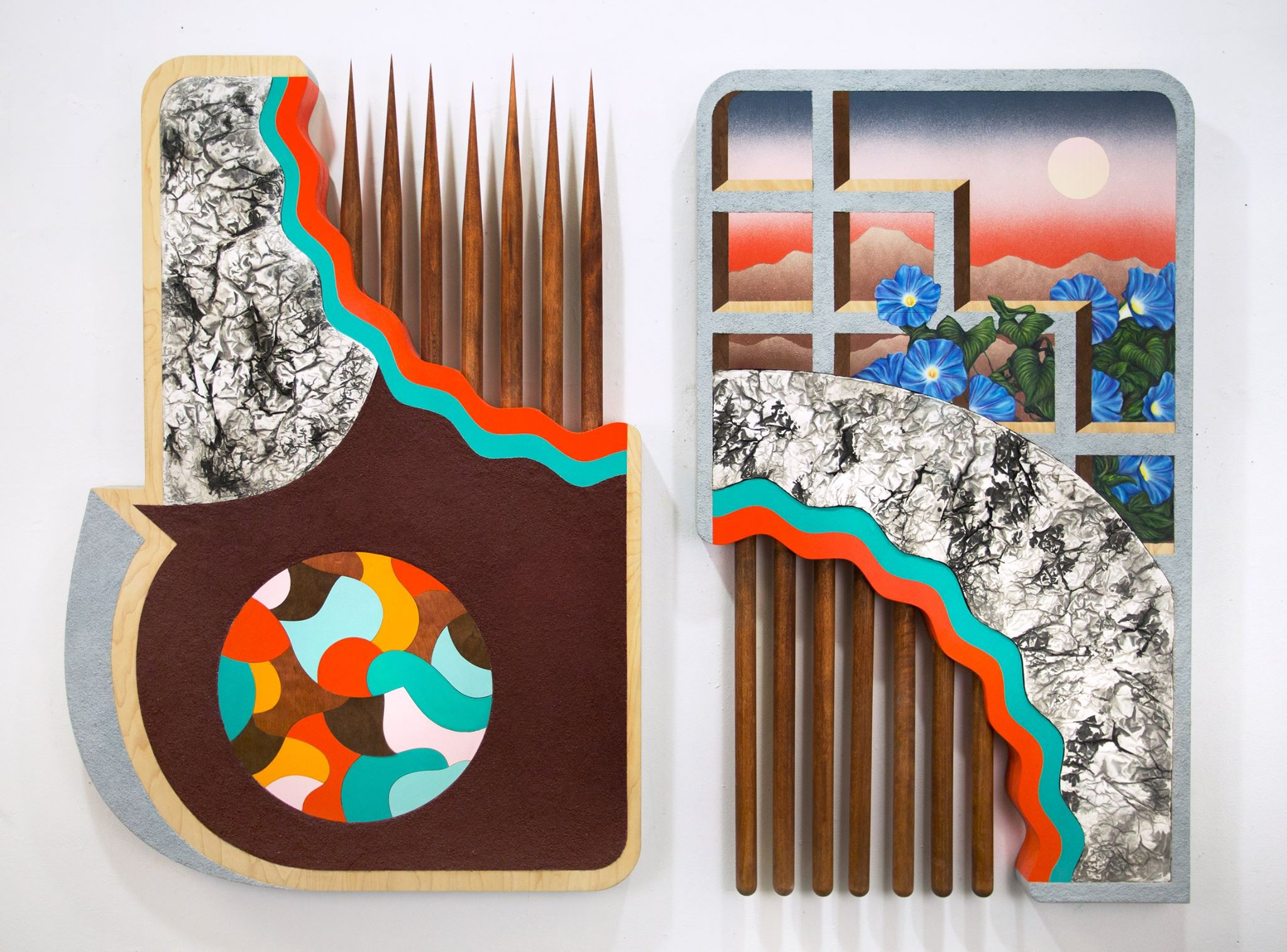 Christian Ruiz Berman ,  Rites of Passage , 2016 Mixed media on shaped panels with birch dowels and hydrocal inlay 58 x 36""