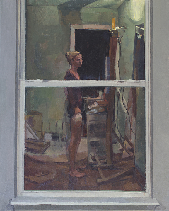 "Sara Pedigo ,  When Midnight Chimes , 2016 Oil on wood panel 20 x 16"""