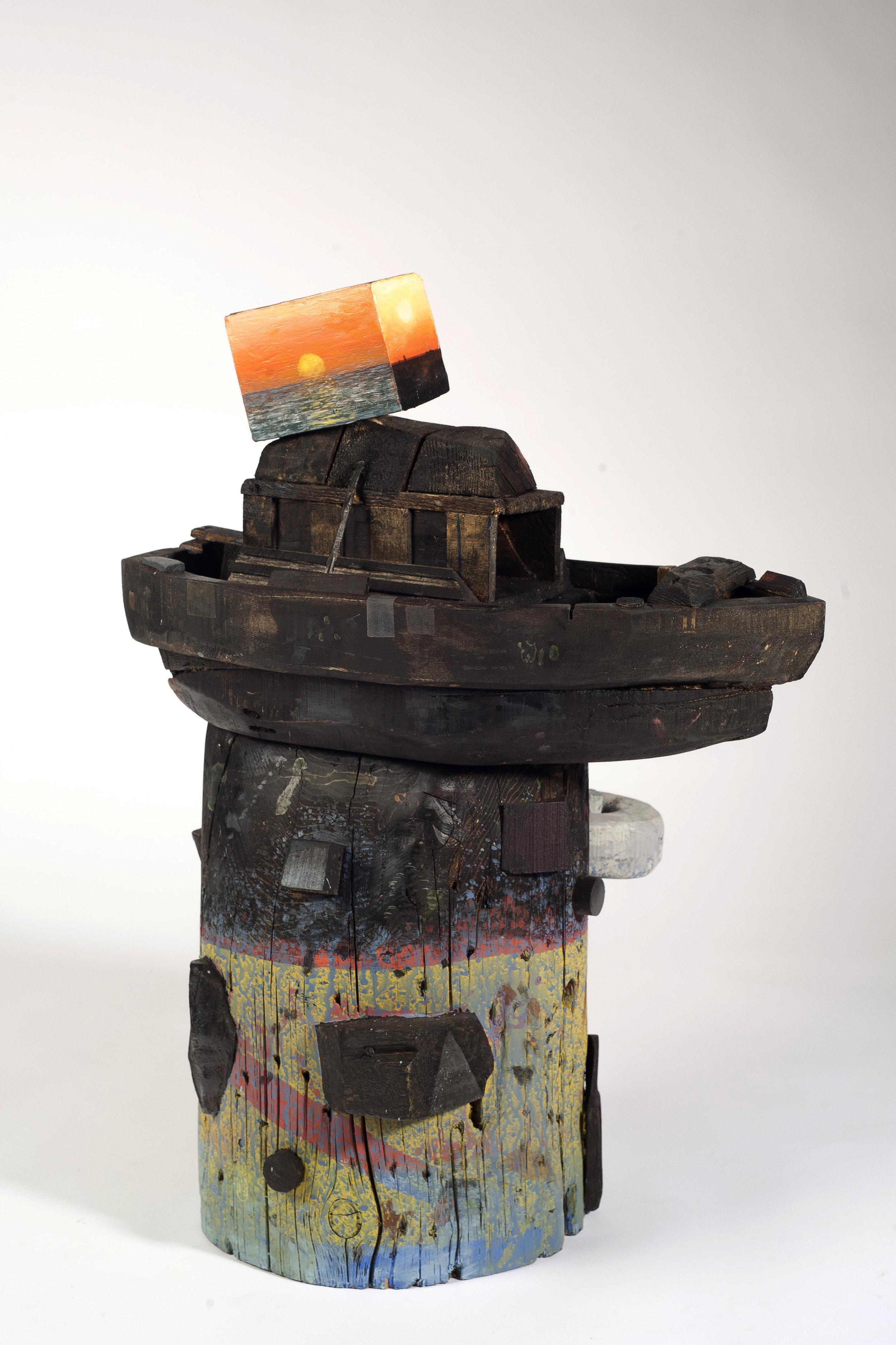 "David LaFrance ,   Mediterranea, 2016 ( Artist Website ,  Gallery Website ) Wood and pigment 30"" x 20"" x 18"""