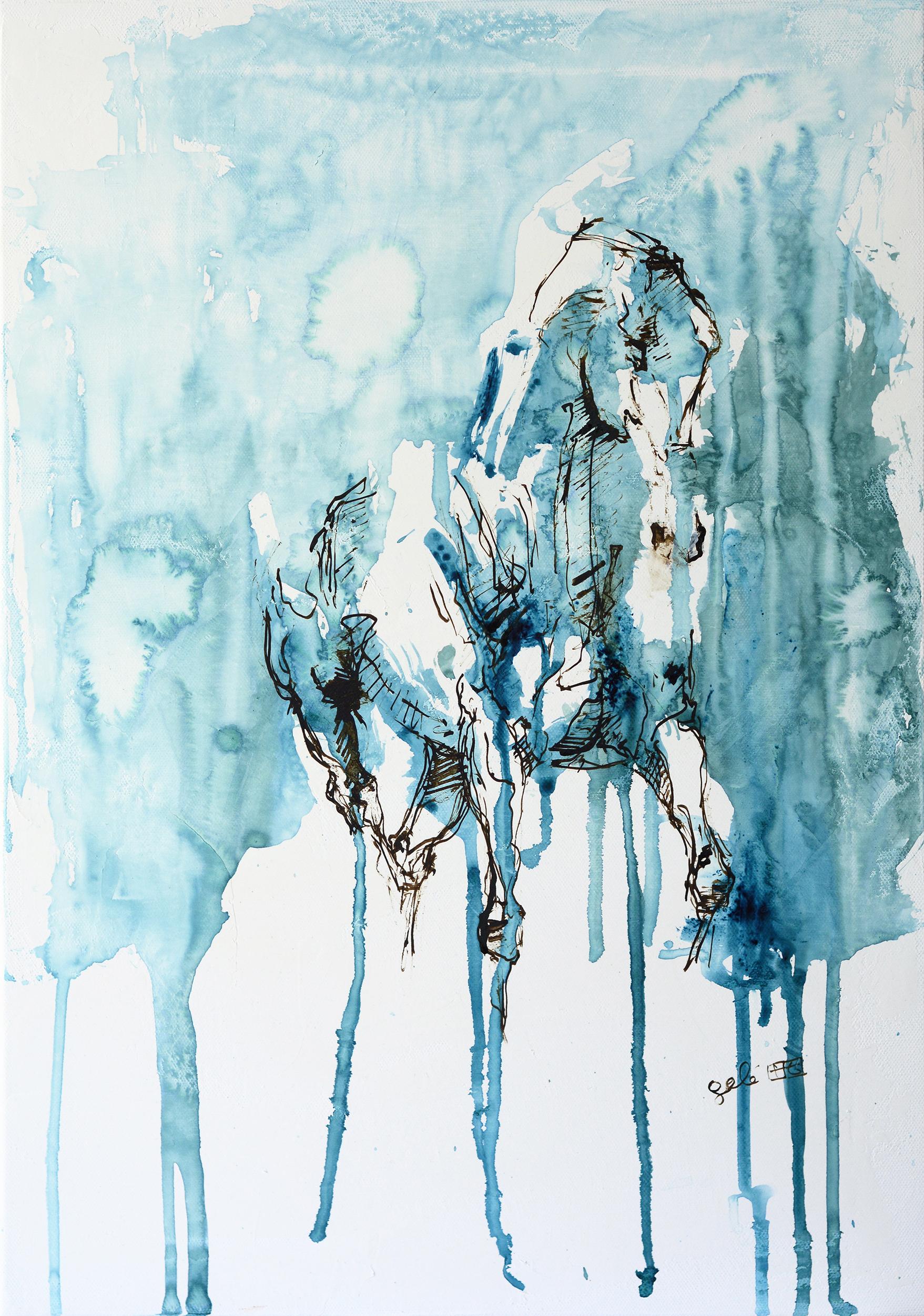 Bénédicte Gelé ,  Nu Equin 13A  ( Artist Website ,  Etsy ) Watercolor on paper