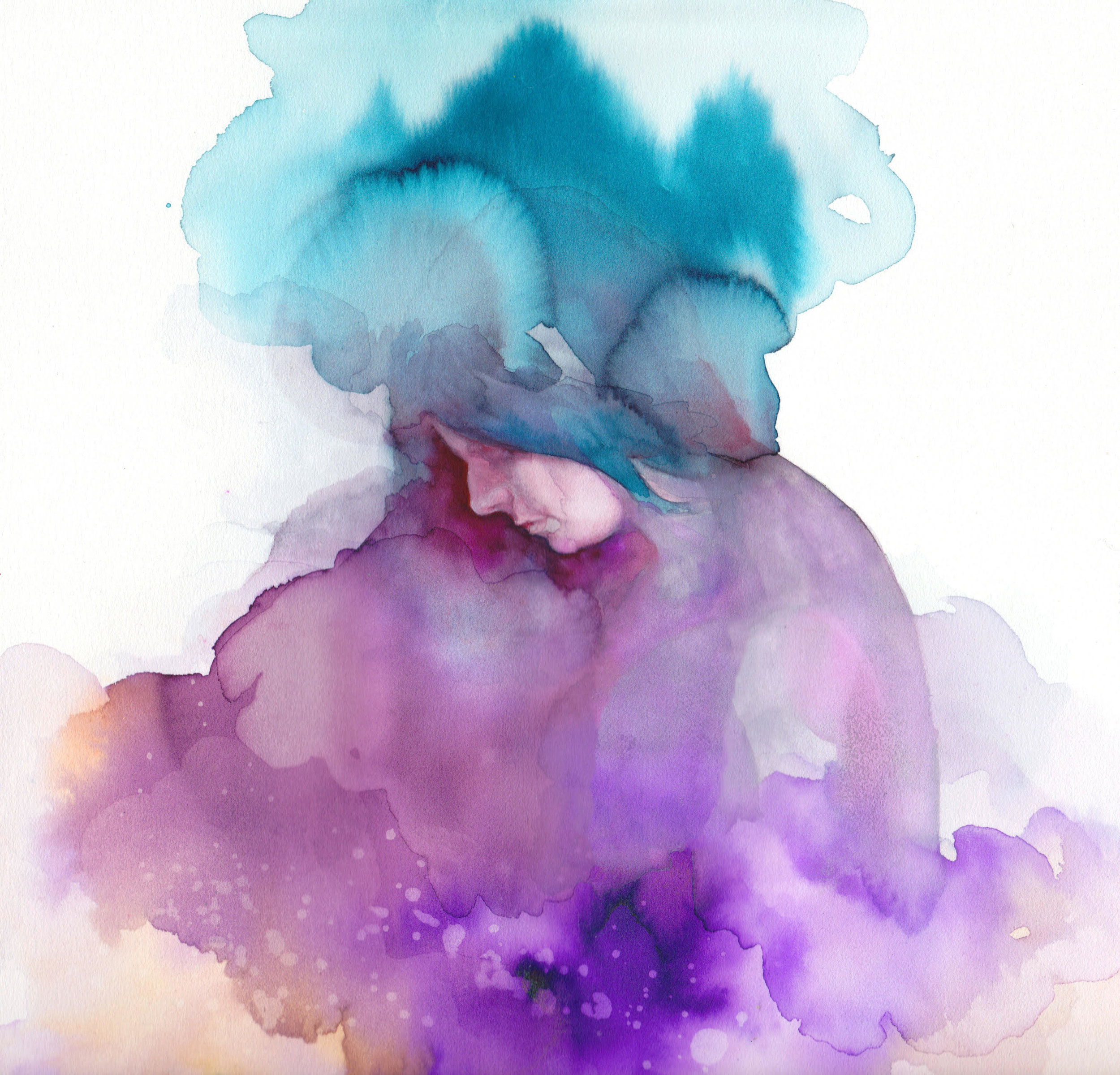 "Sarah Detweiler ,  Mental Load #2  ( Artist Website ) Watercolor and gouache on paper 9 x 9"""