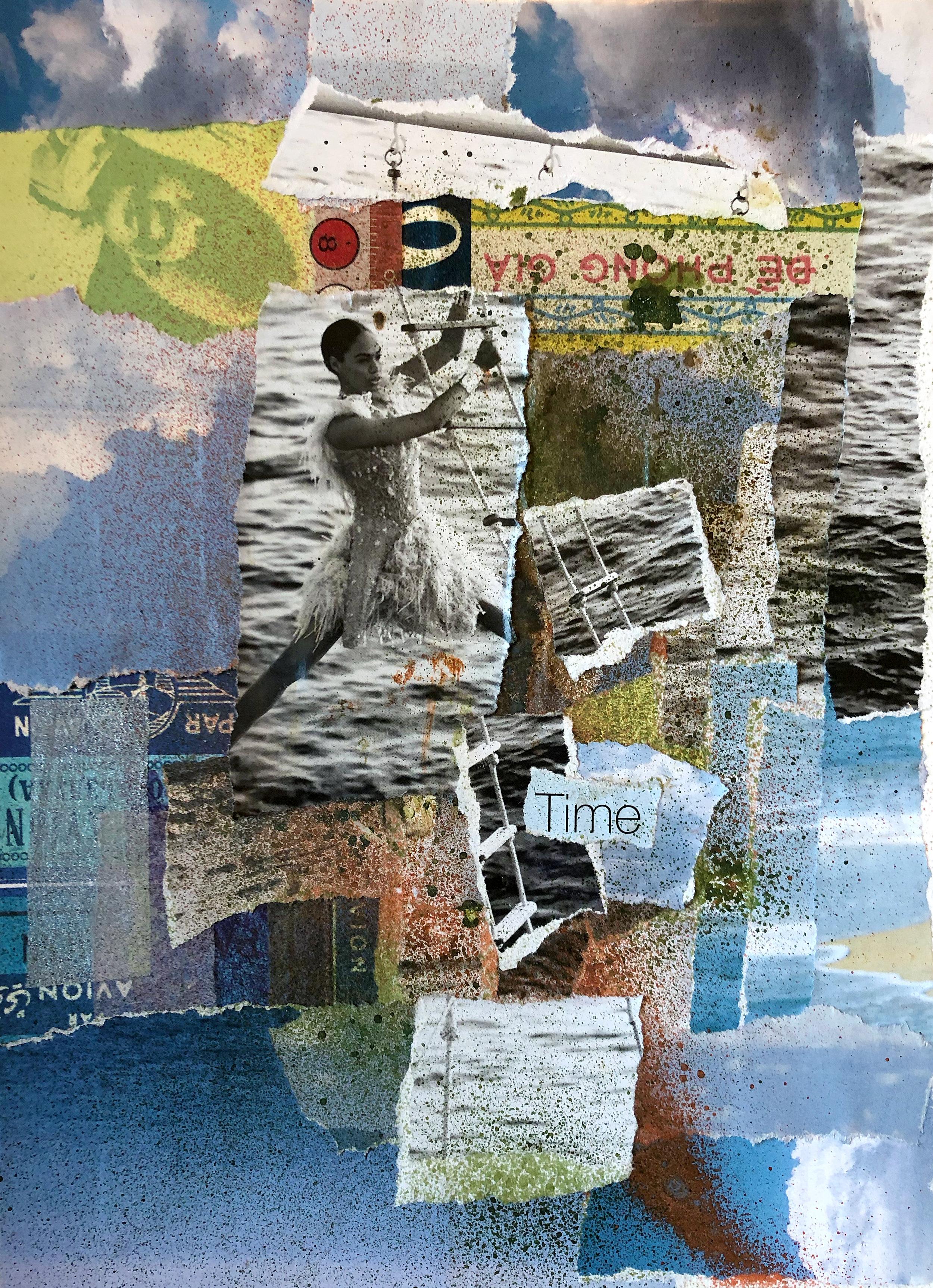 "Lisa Schapiro Flynn ,  Time  Mixed media collage 8.5 x 11"""