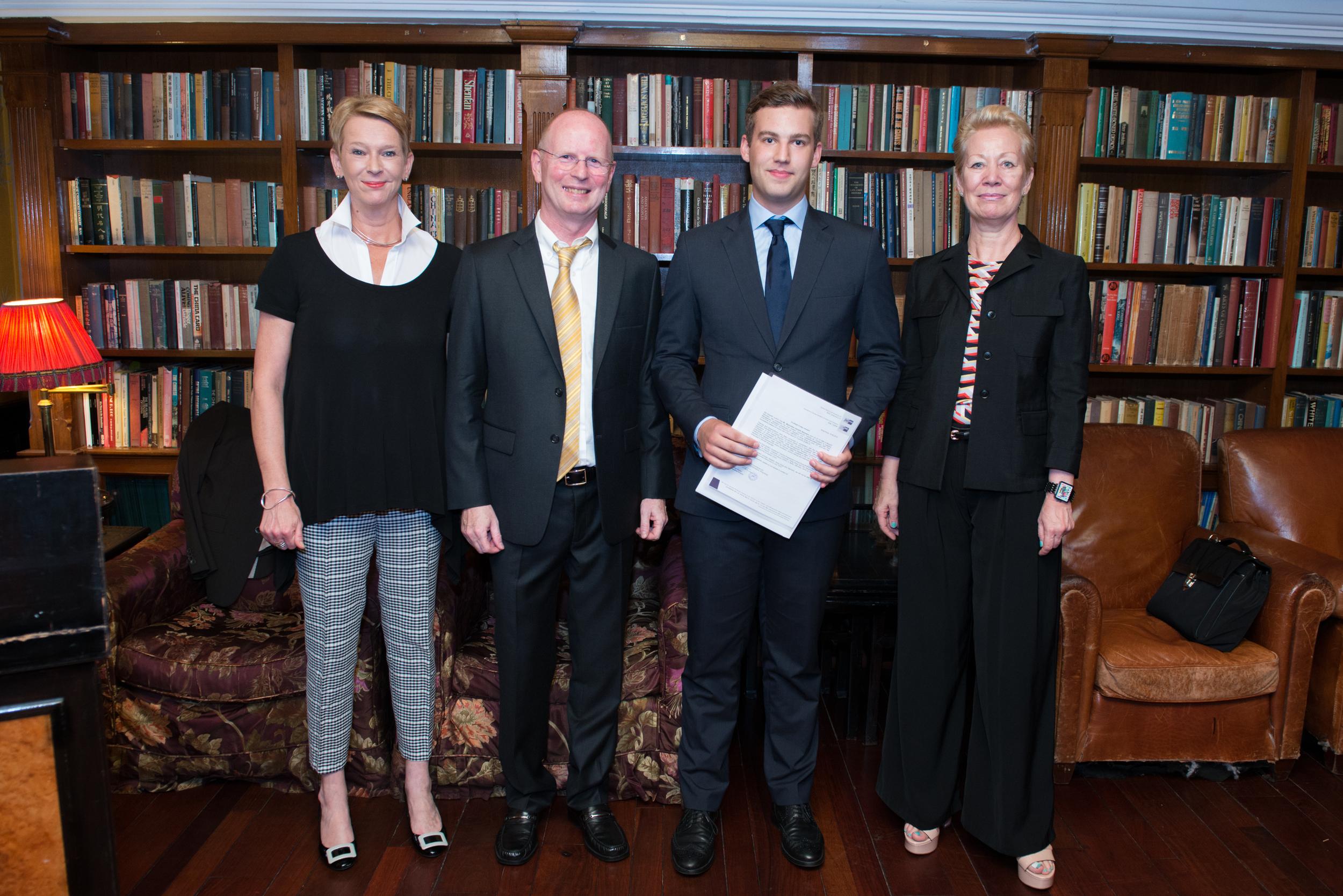 Sabine Florian (Director of GCIC), Uwe Franske (Head of GSIS Business College), Max Neumann (VAMT Trainee), Anette Brandt-Damman (Principal of GSIS)