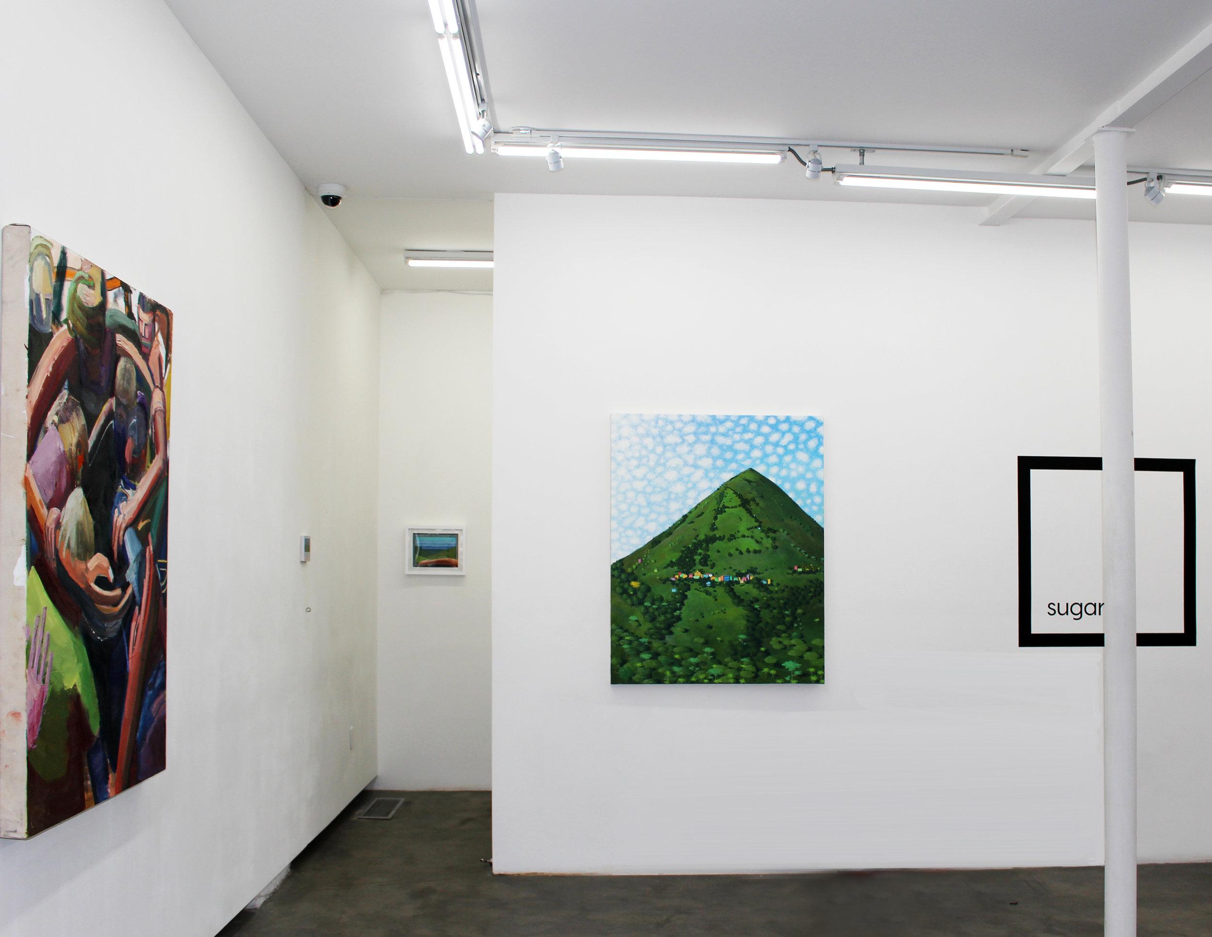 install shot of Jacob Patrick Brooks's and Esteban Ocampo Giraldo's paintings