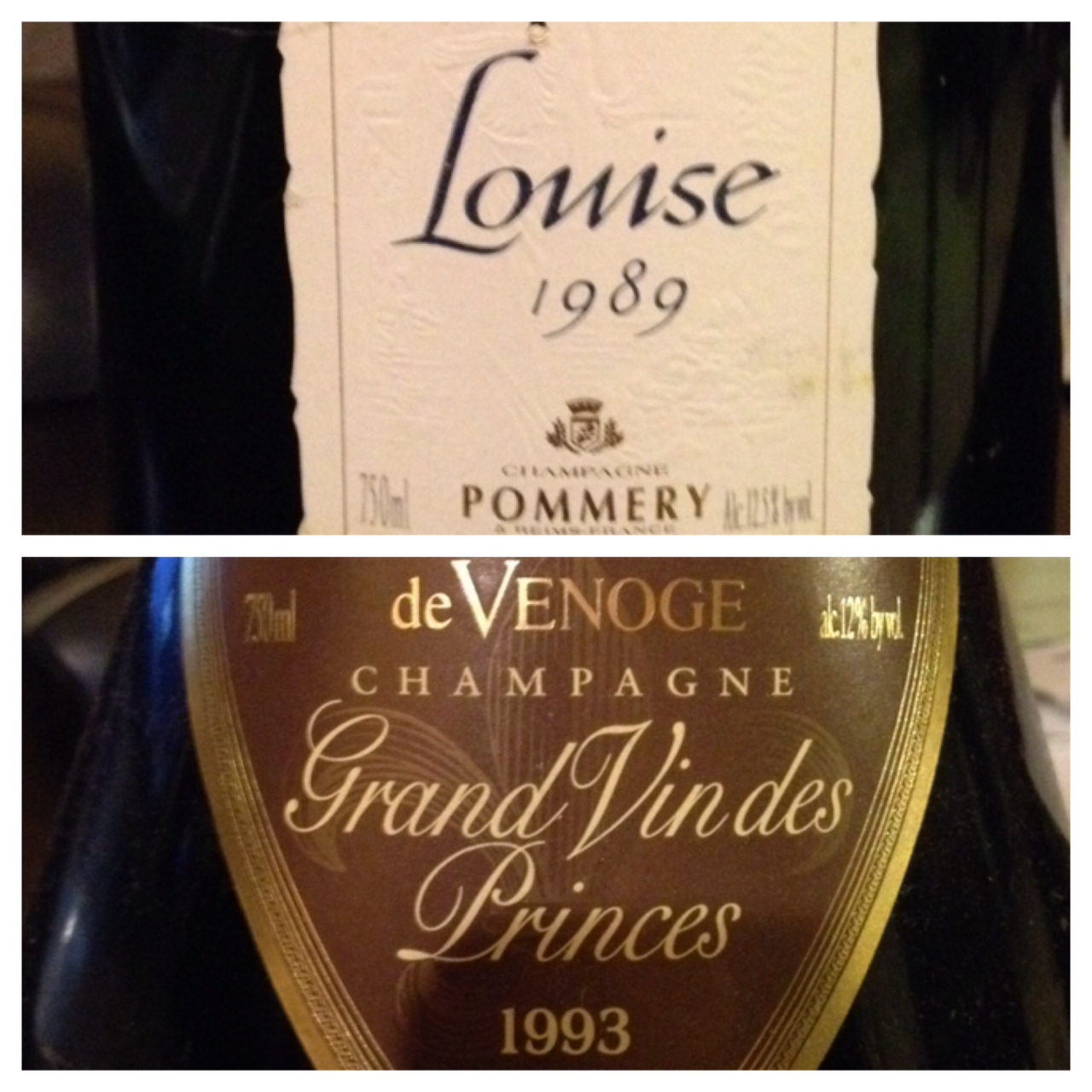 Pommery Louie 1989 was rated 95 pts & De Venoge 1993 was rated 90+ pts
