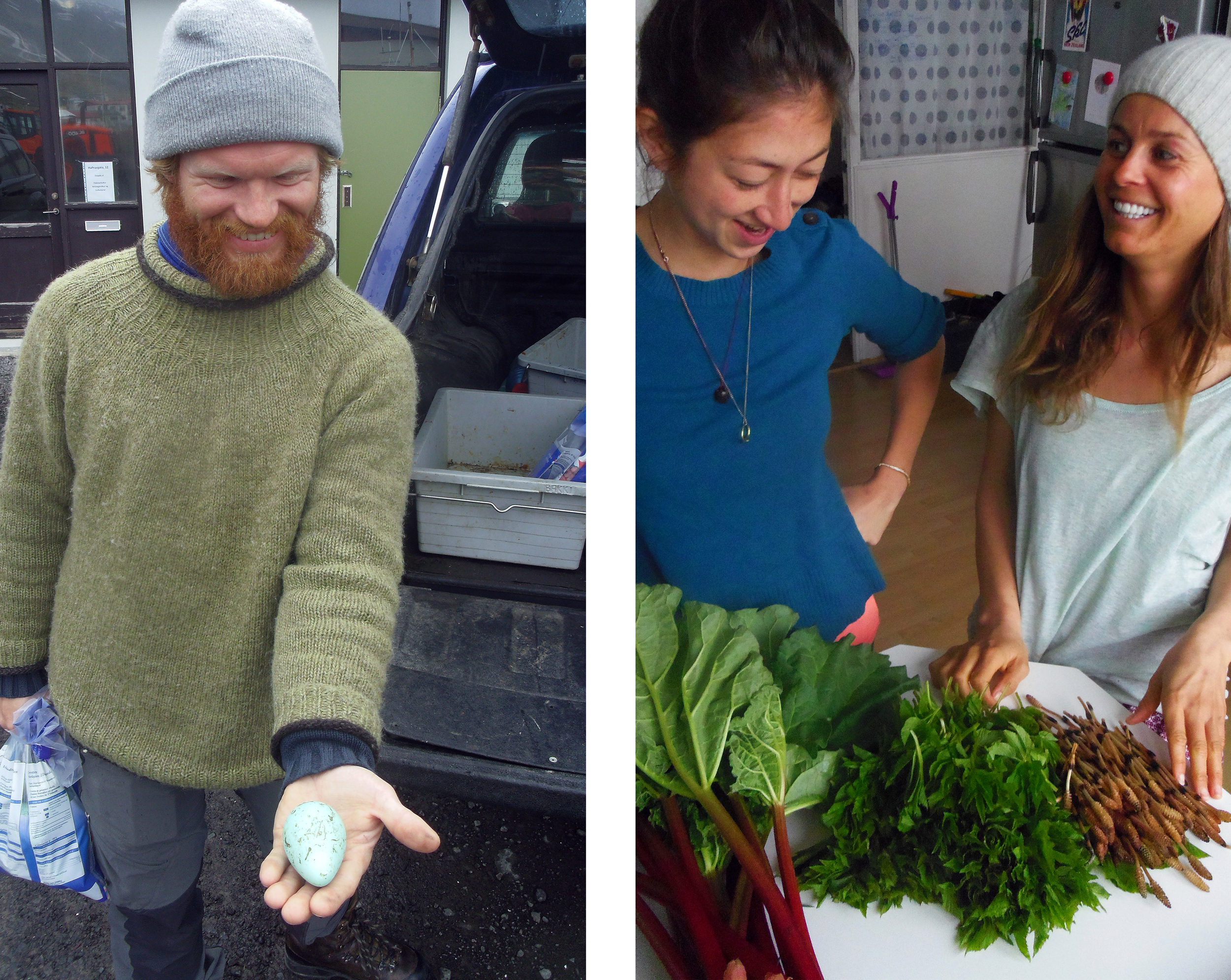 Viðar Kristinsson with the philosopher's egg and Tanja Geis and Camilla Edwards with foraged Rhubarb, Ground Elder and Horsetail