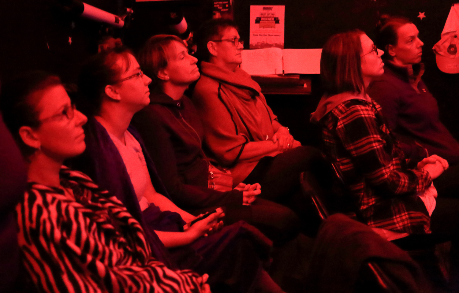 Indoor lecture session - *red light preserves night vision*