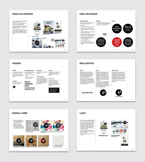 Några sidor ur Gullmarsstrands grafiska riktlinjer.